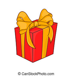 Holiday gift box icon, cartoon style - Holiday gift box icon...