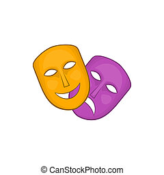 Comedy and tragedy theatrical masks icon - icon in cartoon...