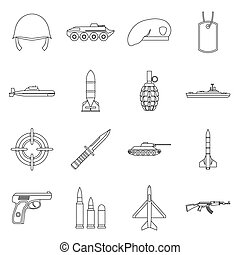 Military icons set, outline style - Military icons set in...