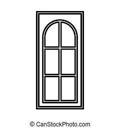 Wooden door with glass icon, outline style