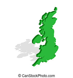 Map of Great Britain icon, isometric 3d style - Map of Great...