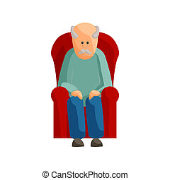 Old man sitting on chair icon, cartoon style - Old man...