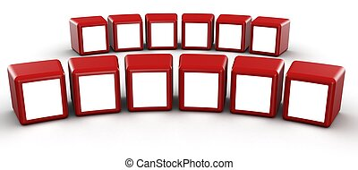 Red cube photo frame gallery concept