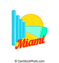 Sign Miami icon, cartoon style - Sign Miami icon in cartoon...