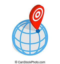 globo, y, mapa, indicador, icono, Isométrico, 3D,...