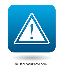 Warning sign icon, simple style - Warning sign icon in...