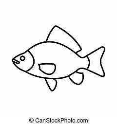 Fish icon, outline style - Fish icon in outline style...