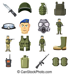 Military weapon icons set, cartoon style - Military weapon...