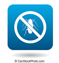 No cockroach sign icon, simple style - No cockroach sign...