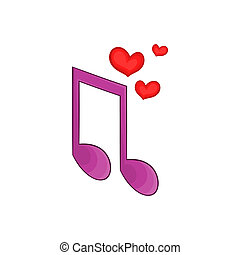 Love song icon, cartoon style - Love song icon in cartoon...