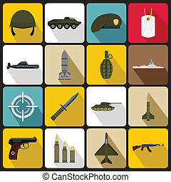 Military icons set, flat style - Military icons set in flat...