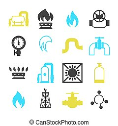Natural gas production, injection and storage. Set of...