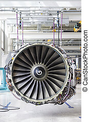 Big airplane engine during maintenance - Close up of...