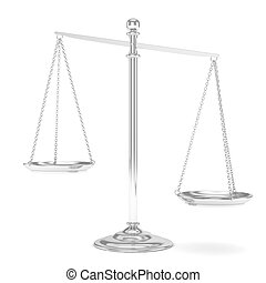 Isolated scales on white. 3D rendering.