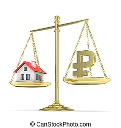 Pan scale with ruble and house. 3D rendering. - Isolated old...