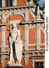 Statue Of Roland At The Town Hall In Riga, Latvia. Famous...