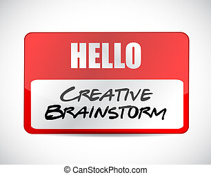 Creative Brainstorm name tag sign concept illustration...