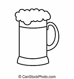Mug of dark beer icon, outline style - Mug of dark beer icon...