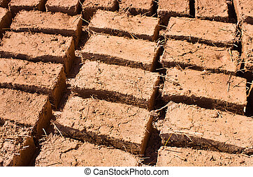 Bricks dried on the sun - A lot of bricks dried in Morocco