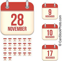 November tear-off calendar isolated vector icons set -...