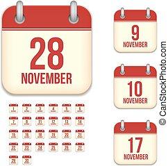 November tear-off calendar isolated vector icons set -...