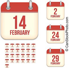 February tear-off calendar isolated vector icons set