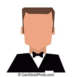 man with tuxedo portrait icon