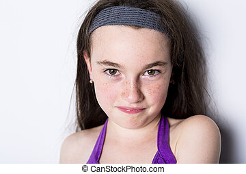 close-up of a 10 year old girl - A close-up of a 10 year old...