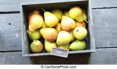 Vegan food idea - Healthy Organic Pears - Vegan food, text...