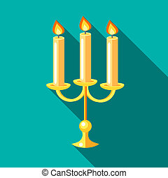 Chandelier with candles icon, flat style - Chandelier with...