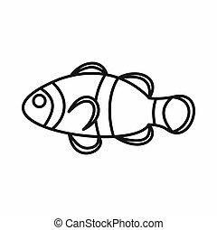Cute clown fish icon, outline style - Cute clown fish icon...