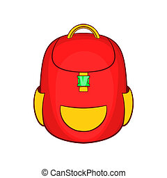Red backpack icon in cartoon style - icon in cartoon style...