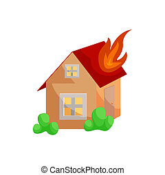 Fire insurance icon, cartoon style - Fire insurance icon in...