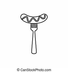Grilled sausage on a fork mustard icon in outline style...