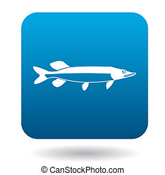 Pike fish icon, simple style - Pike fish icon in simple...