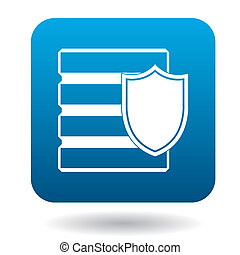 Data security icon, simple style - Data security icon in...