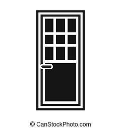 Wooden door with glass icon, simple style