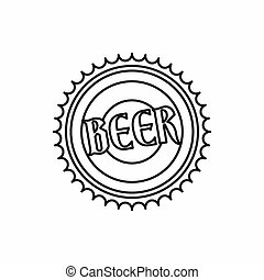 Beer bottle cap icon, outline style - Beer bottle cap icon...