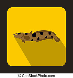 Anarhichas fish icon, flat style - icon in flat style on a...