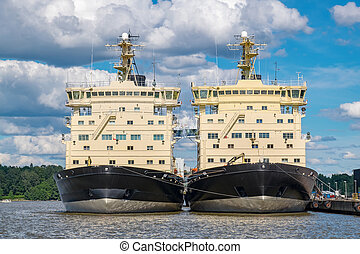 Two Icebreakers. Helsinki, Finland, EU - Icebreakers at...