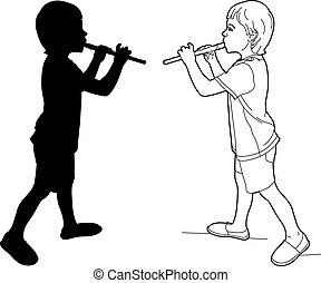 dessin, et, ombre, de, a, flûtiste