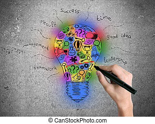 Hand drawing lightbulb sketch - Hand drawing creative...