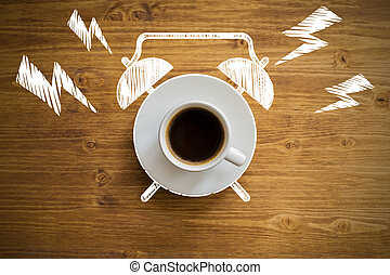 Time management concept - Top view of ringing coffee cup...