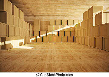 Spacious wooden warehouse interior with multiple storage...