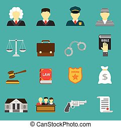 Law and justice flat icons set The legal system, judge,...