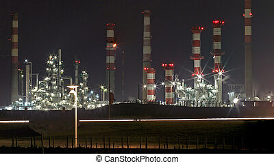 Oil refinery at night - Part of a big oil refinery by night....