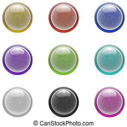 Button set | Isolated - Real glass button collection with...