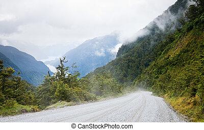 Fiordland - Gravel road at Fiordland National Park, New...