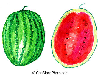 Tasty Watermelon Art - Watercolor and acrylic painted tasty...