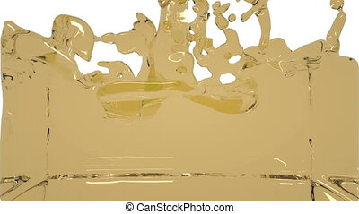 turbulent yellow liquid filling the frame.. Water -...